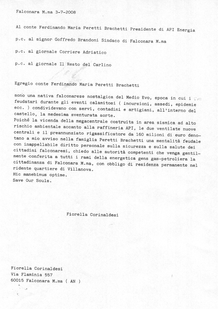 egregio conte Brachetti Peretti