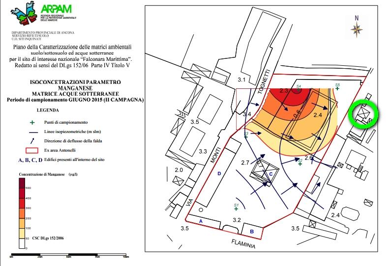 la contaminazione da MANGANESE nel SIN - in verde il pozzo privato